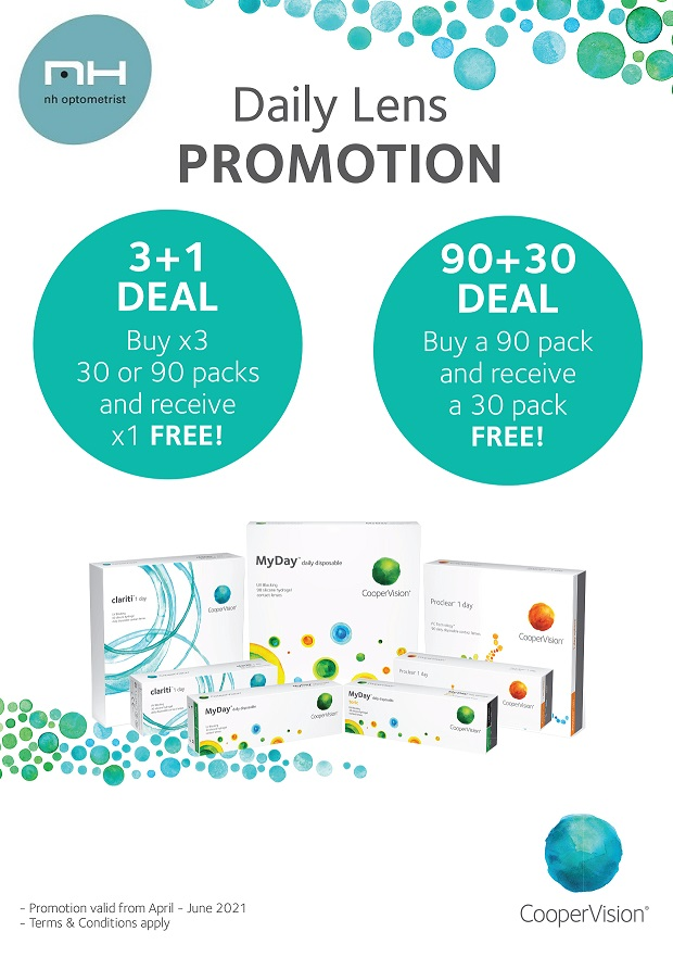 Contact lense promotion at NH Optometrist Plattekloof Cape Town