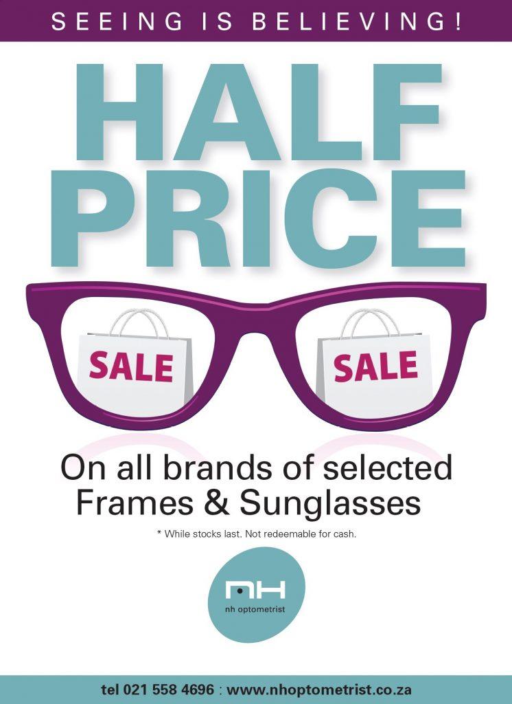 50 percent off frames and sunglasses NH optometrist Plattekloof Cape Town