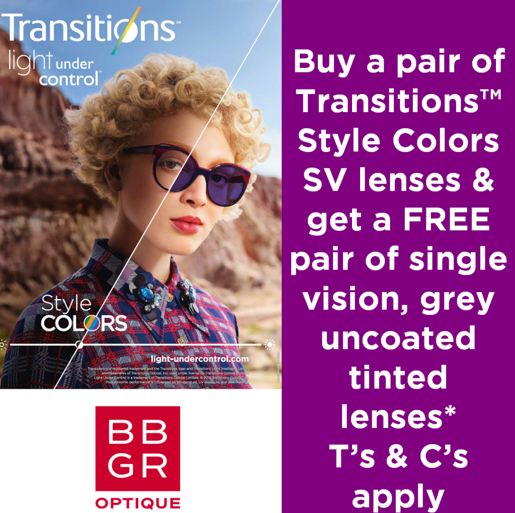 NH Optometrist Transitions Promo free tinted lenses