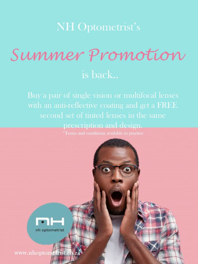 Free tinted multi-focal lenses promotion NH Optometrist Plattekloof Cape Town