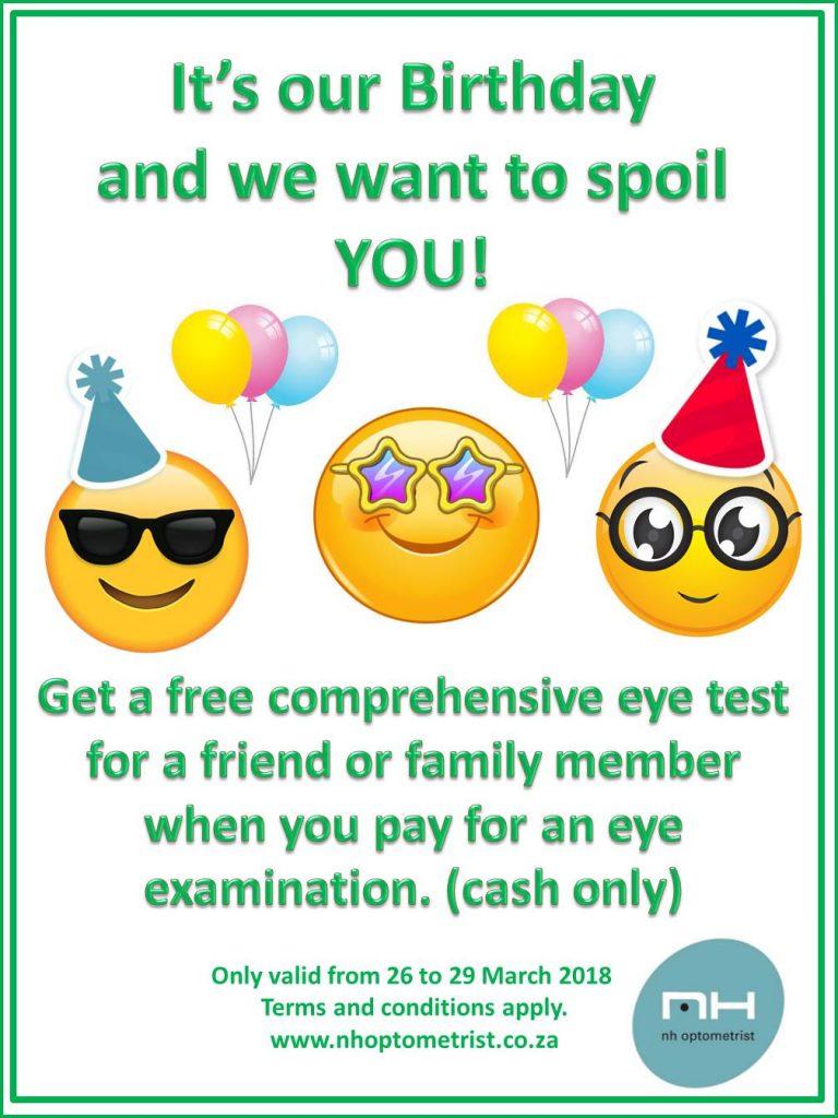 NH Optometrist Birthday Promotion free eye test