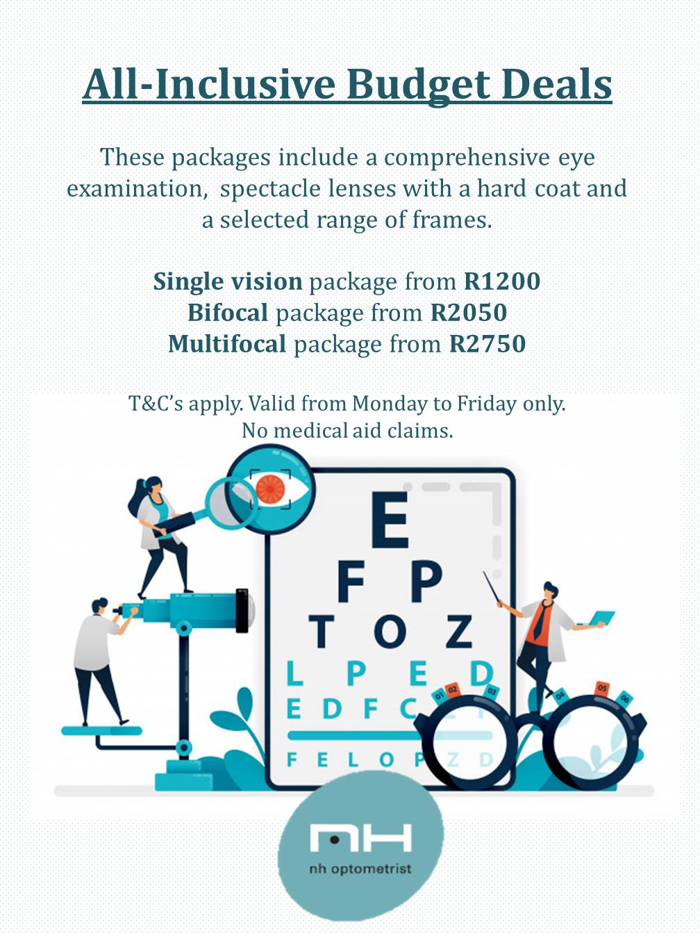 All-inclusive budget deals at NH Optometrist Plattekloof Cape Town