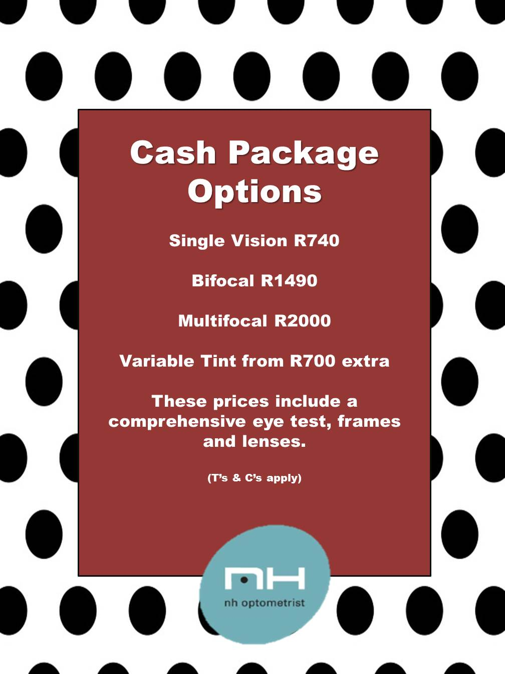 NH Optometrist Plattekloof cash package deals
